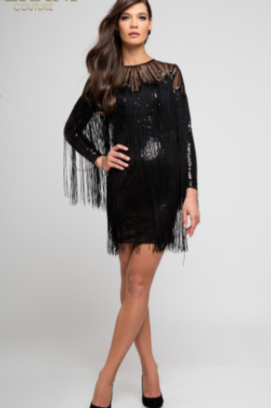 Terani Couture Black Sequin Embellished Fringe Dress