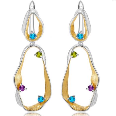 925 Sterling Silver Twist Drop Natural Topaz Peridot Gemstone Earrings