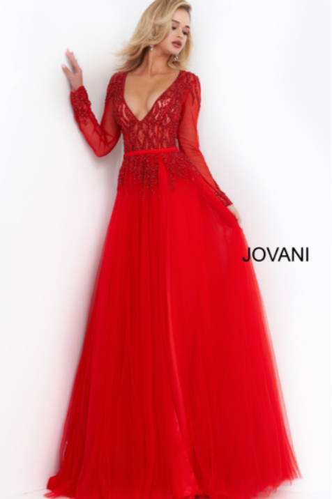 Jovani 60325 Red Embellished Long Sleeve Evening Gown