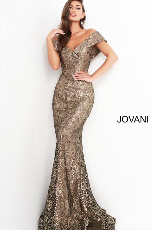 Jovani 02920 Black Gold Fitted V neck Evening Dress