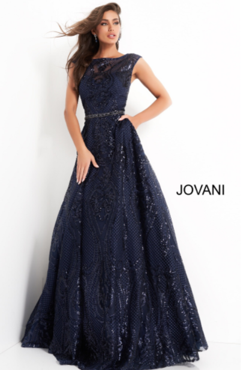 Jovani 02514 Navy Embellished A Line Evening Gown