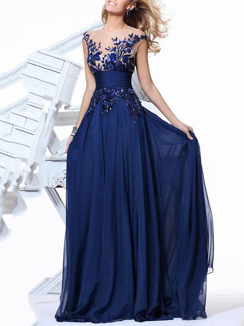 Embroidery Sleeveless Maxi Dress Evening Dress