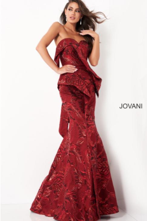 JOVANI 05020 Wine Strapless Mermaid Evening Dress