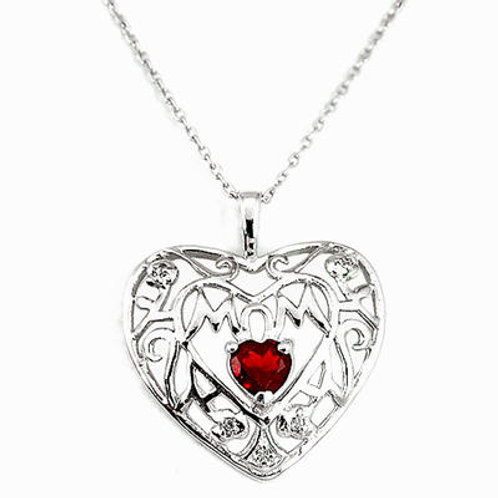 Natural red Garnet Topaz 925 Sterling Silver Heart Necklace