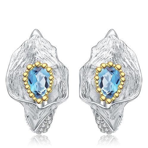 Real Swiss Blue Topaz 925 Sterling Silver Jewelry Earrings