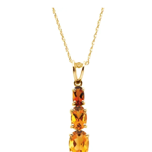 "14K Yellow Three-Stone Citrine 18"" Necklace"