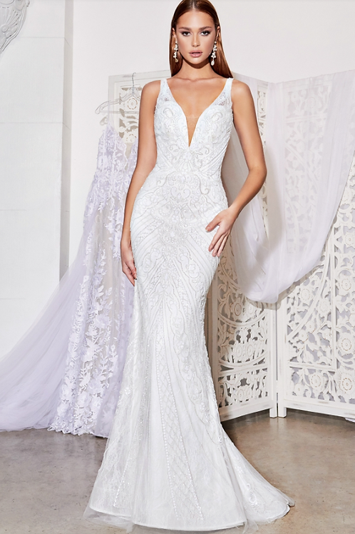 Cinderella Divine Fitted Beaded Bridal Gown with Beaded Details