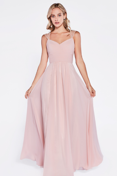 A-line Chiffon Dress with Gathered Bodice and Beaded Cap Sleeve.