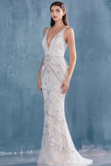 Andrea & Leo Opal Beaded & Glitter V-Neck Gown