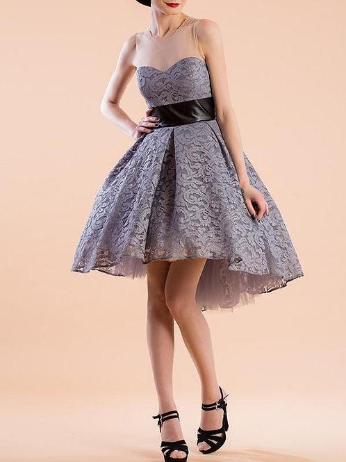 Split-Joint Lace A-Line Mini Evening Dress