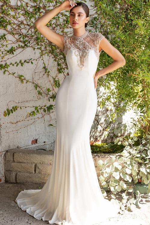Cinderella Divine HighNeck Cap Sleeve Open Back Dress