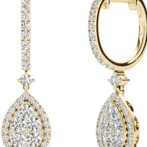 Diamond Earrings 1.45CT  Diamonds 8KT Yellow Gold