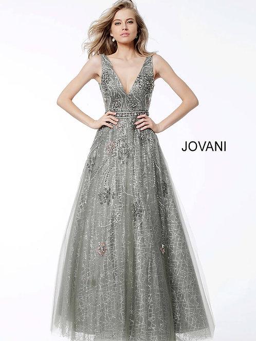 Silver Embellished A line Plunging Neckline Evening Dress 53041