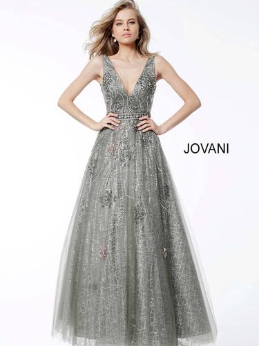 680b6e42cefe Silver Embellished A line Plunging Neckline Evening Dress 53041