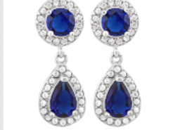 MIGNON'S BLUE SAPPHIRE 925 STERLING SILVER EARRINGS