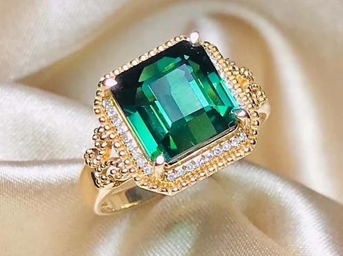 18K Gold 5.44CTNatural Tourmaline & Diamond Ring