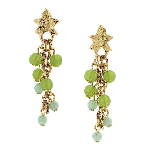 14K Gold-Dipped Green Beaded Grape Drop Earrings