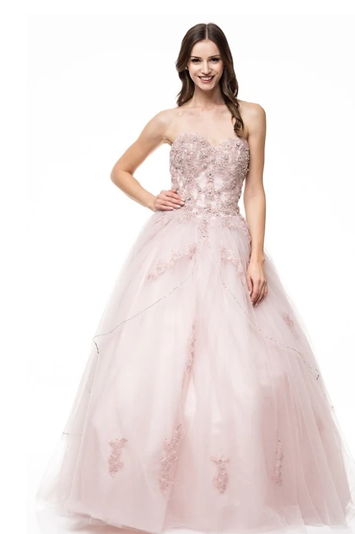 Strapless Sweetheart Tule Crystal Beaded Embroidered Gown