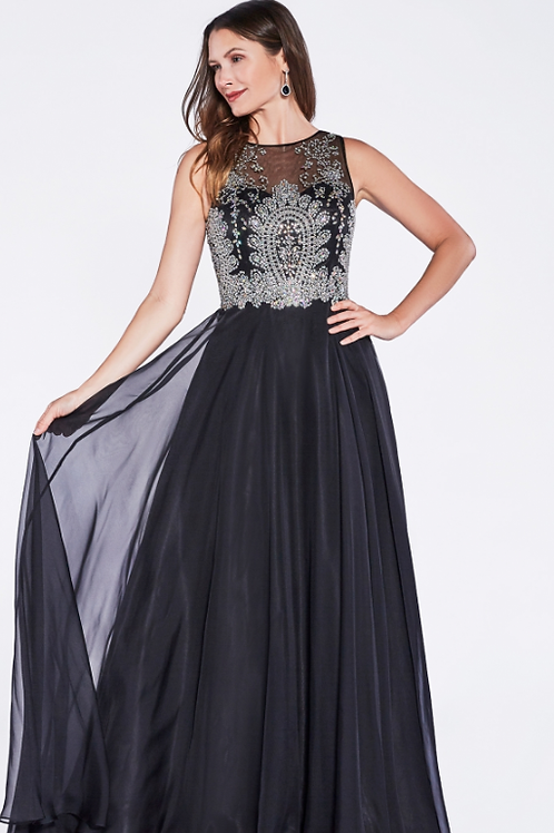Mignon Manley A-line dress with chiffon layered skirt and lace embellished bodic