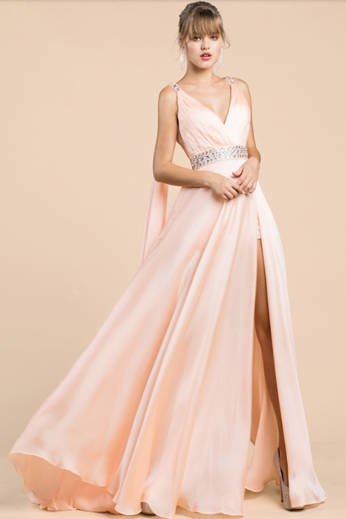 Cinderella Divine Satin a-line Gown With Cape Sleeve, High Slit, and Under SCind