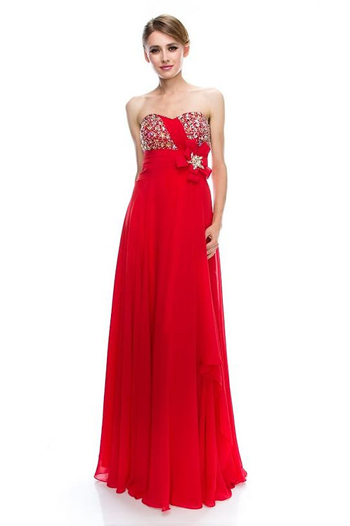 EVENING GOWN - RED STRAPLESS SWEETHEART A-LINE