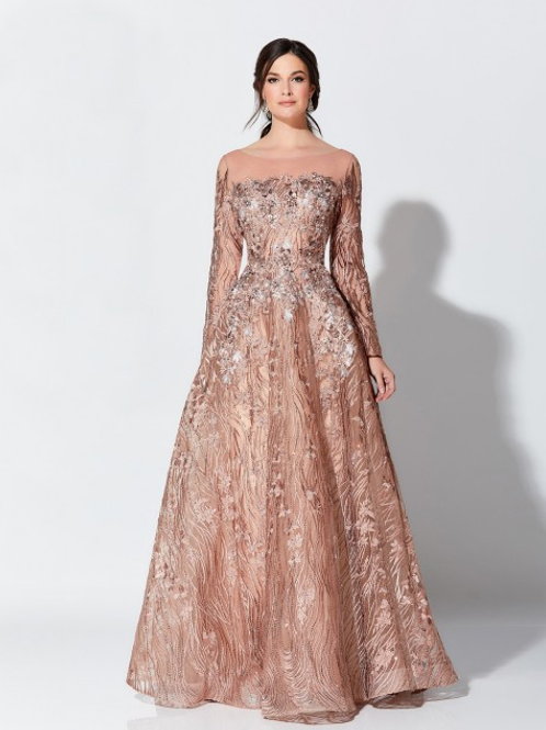 Ivonne D Exclusively for Mon CheriLong Sleeve Evening Gown