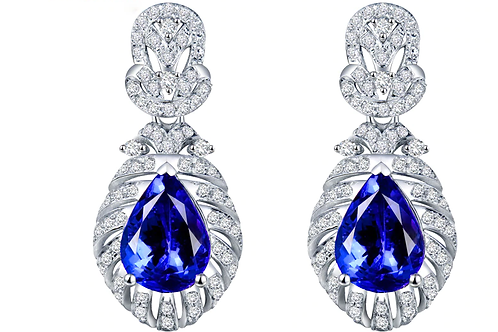 Mignon Manley Diamonds & Natural Blue Tanzanite 14kt White Gold Earrings