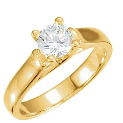 14K Yellow 1/4 CTW Diamond Round Solitaire Engagement Ring