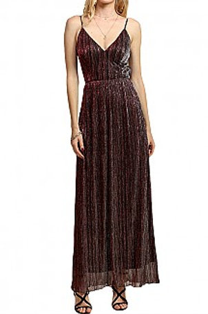 GOWN, Shinny V Neck Maxi Dress With Open Back