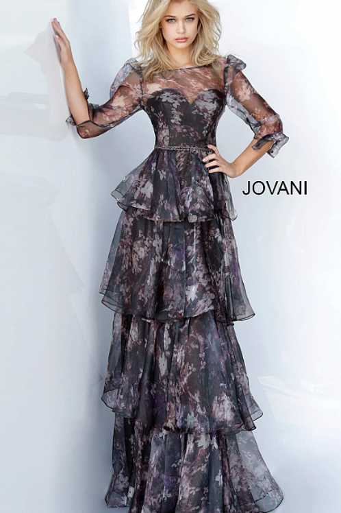 Jovani 2621 Floral Ruffle Skirt Evening Dress