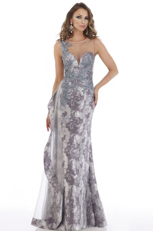FERIANI COLLECTION Silver Embellished Dress