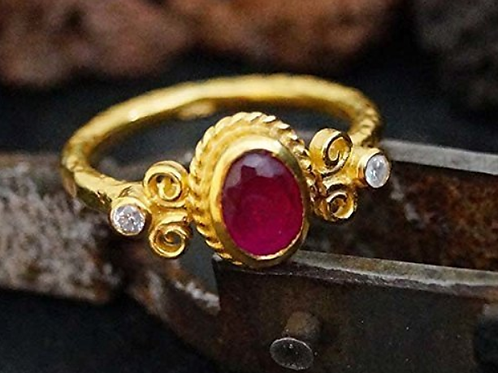 Mignon Manley Ruby And Topaz 24 K Gold Over Sterling Ring