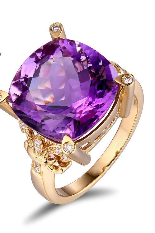 RING, 14KT YELLOW GOLD, 10.9CT AMETHYST & 0.16 DIAMONDS