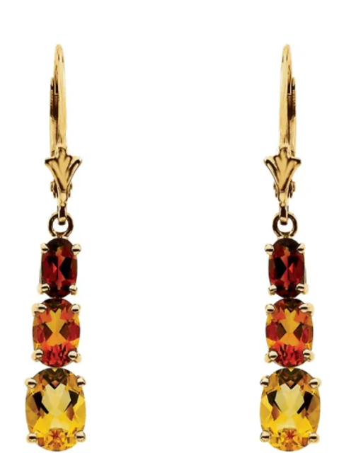 14K Yellow Citrine & Madeira Citrine Earrings