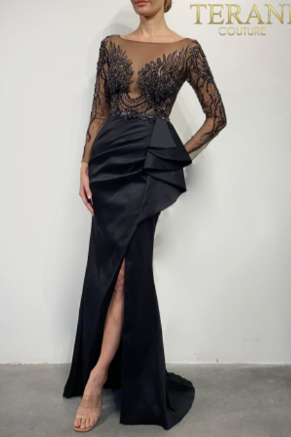Terani Couture Black Satin Embellished Top Gown 2021E2878