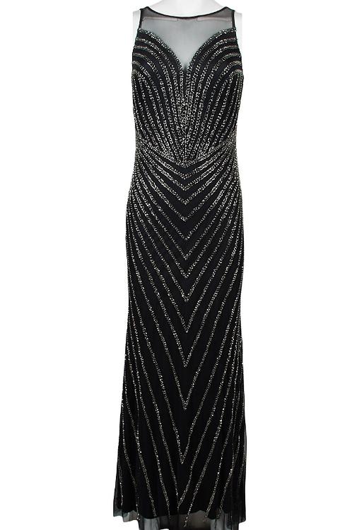 Adrianna Papell Boat Neck Sleeveless Illusion Dress