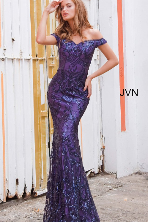 JOVANI Navy Off the Shoulder Sweetheart Neckline Prom DressJVN4296