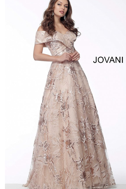 Jovani 67911 Nude Fold Over Neckline A Line Evening Gown