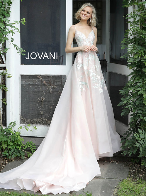 Blush Embroidered V Neck Wedding Dress JB65933