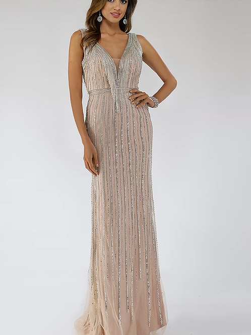 Stunning Beaded Fringe Gown