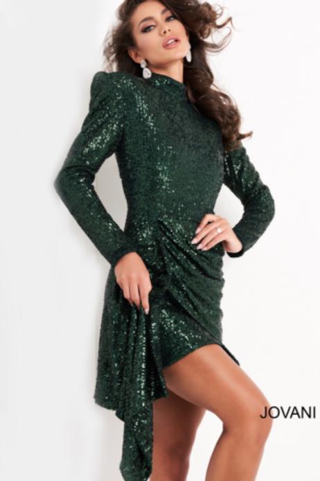 Jovani 04270 Green Long Sleeve Sequin Cocktail Dress