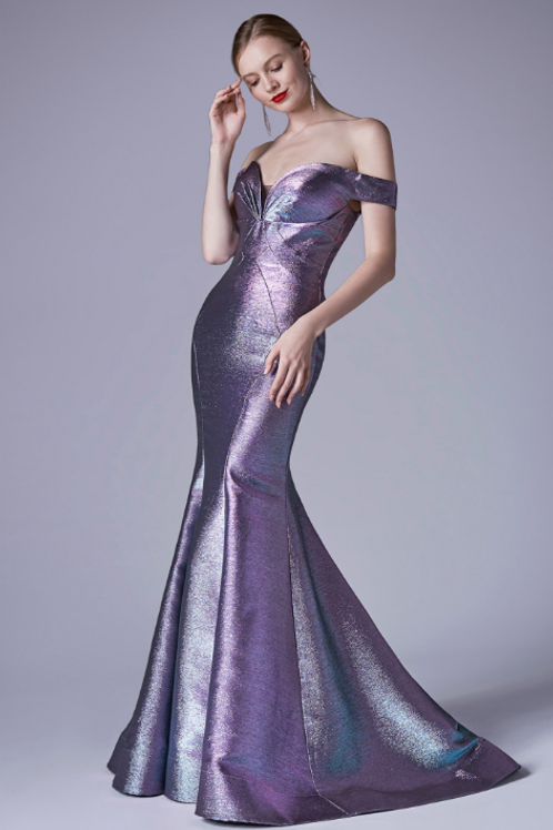 Designer Off The Shoulder Metallic  Mermaid Gown
