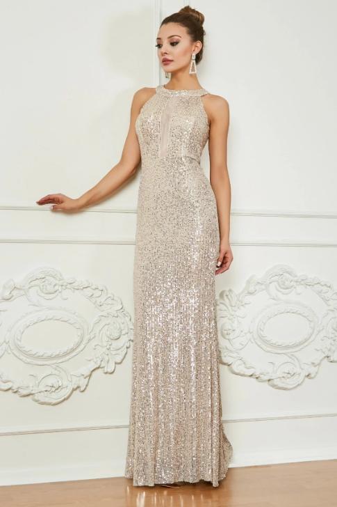 Sequined Long Sleeveless Halter Neck Gown
