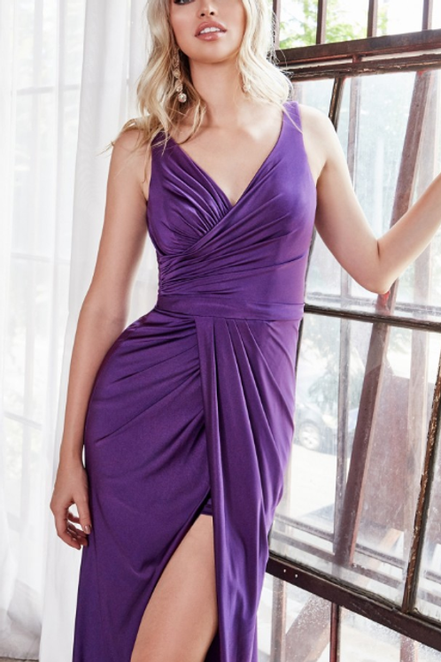 Fitted stretch jersey gown with gathered belted waistline and leg slit