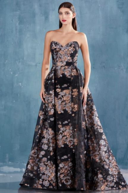 Effie Strapless Gown Sheath Metallic Print/Overskirt