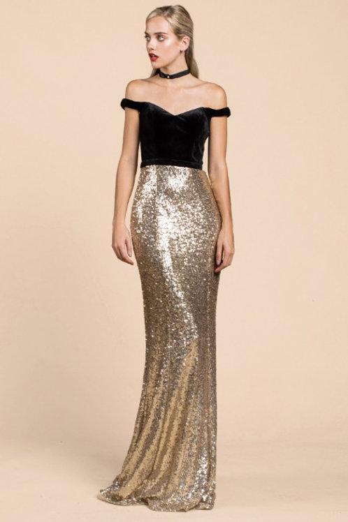 Off Shoulder Velvet Gown W Seaquined Skirt