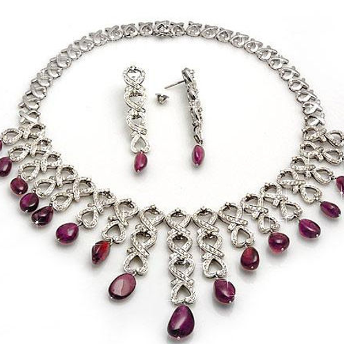 Exclusive Ruby Diamond Necklace With 14k White Gold Necklace