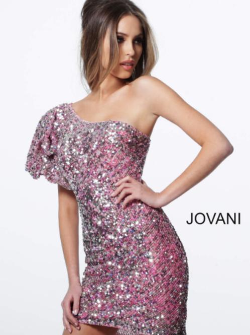 JOVANI Pink One Shoulder Fitter Embellished Cocktail Dress 2921