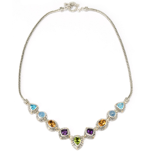 Princess Tiaa Sterling Silver/18k Multi Gem Necklace