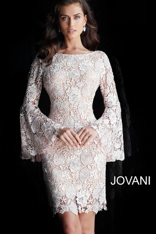 Jovani Blush Nude Long Bell Sleeves Lace Evening Dress 61202